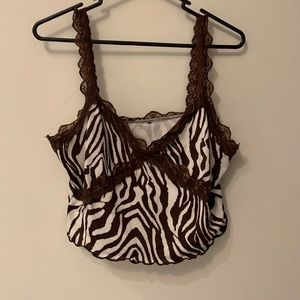 Brown Zebra print top with lacing details